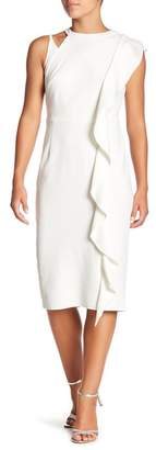 Marina Cascade Midi Sheath Dress