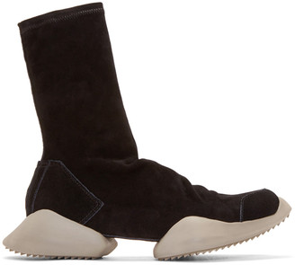 Rick Owens Black Suede adidas by Rick Owens High-Top Sneakers $1,110 thestylecure.com