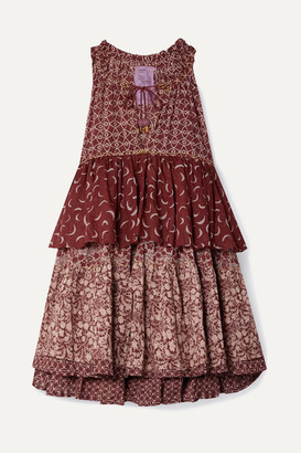 Yvonne S Hippy Printed Cotton-voile Mini Dress - Brick