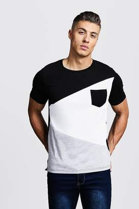 boohoo Spliced Colour Block T-Shirt