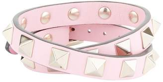 Valentino Leather Rockstud Double Wrap Bracelet