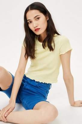 Topshop Short Sleeve Waffle T-Shirt