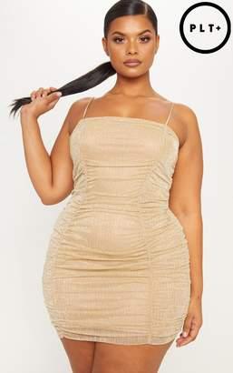 PrettyLittleThing Plus Black Plisse Strappy Bodycon Dress