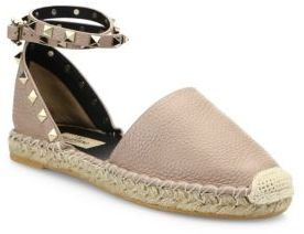 Valentino Rockstud Leather D'Orsay Espadrille Flats $795 thestylecure.com