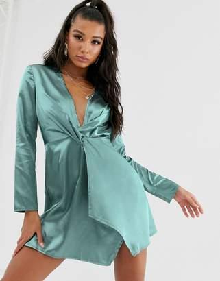 Saint Genies knot front satin mini swing dress in sage green