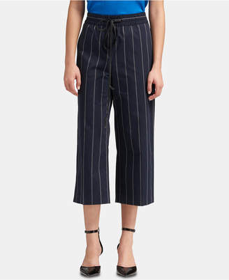 DKNY Striped Wide-Leg Cropped Pants With Faux-Leather Tie