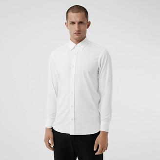 Burberry Check Cuff Stretch Cotton Poplin Shirt, White