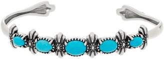 American West Oval Turquoise Sterling Silver Five Stone Cuff