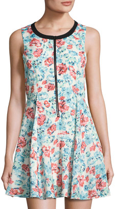 Lucca Couture Quinn Zip-Front Dress, Blue Pattern $55 thestylecure.com