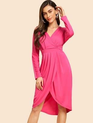a0cc511a074ce Shein Neon Pink Pleated Tulip Hem Wrap Dress