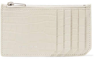 Saint Laurent Croc-effect Patent-leather Cardholder - Cream