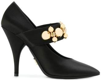 Prada embellished strap Mary Jane pumps