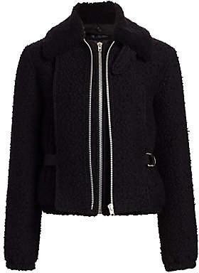 Helmut Lang Women's Tweed Virgin Wool-Blend & Shearling Collar Bomber Jacket