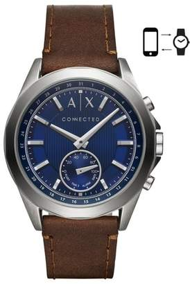 Armani Exchange Connected Hybrid Leather Strap Smartwatch, 44mm