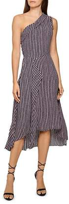 Reiss Nia Geometric Print One-Shoulder Midi Dress