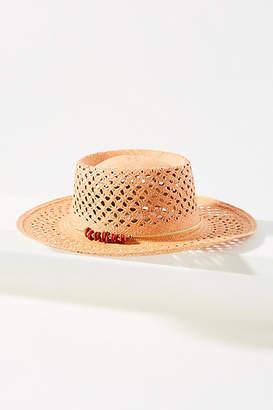 Van Palma Beaded Straw Boater Hat