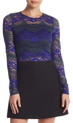 Romeo & Juliet Couture Lace Long Sleeve Crop Top