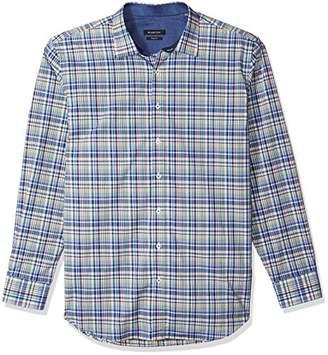 Bugatchi Men's Long Sleeve Shaped Fit Mini Checks Point Collar Shirt