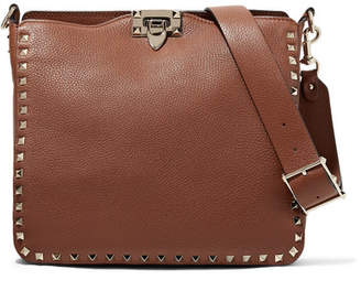 Valentino Garavani The Rockstud Hobo Small Textured-leather Shoulder Bag - Brown