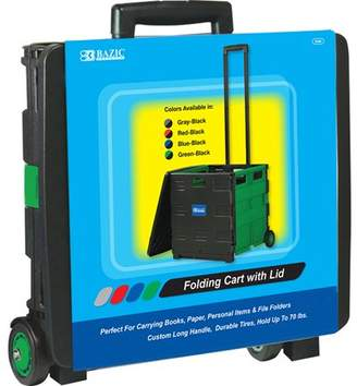 "Bazic BAZIC 16""X18""X15"" Green Folding Cart on Wheels w/Lid Cover, Case of 3"