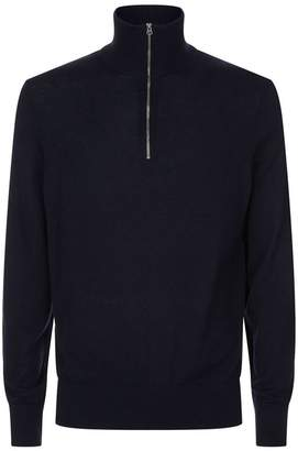 Burberry Half Zip Funnel Neck Sweater