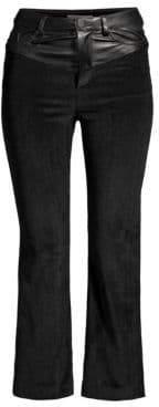 Alice + Olivia Jacob Leather Yoke Crop Trousers