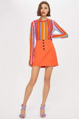 Topshop Womens Pocket Button Mini Skirt