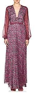 RAQUEL DINIZ Women's Leah Floral Silk Chiffon Maxi Dress - Pink