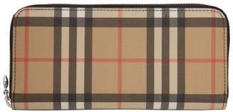 Burberry Beige Vintage Check E-Canvas Ziparound Wallet