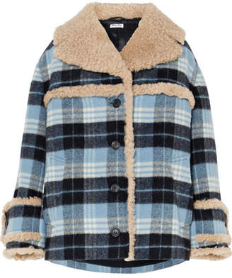 Miu Miu Shearling-trimmed Checked Wool-blend Flannel Jacket - Blue