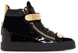 Giuseppe Zanotti Navy Velvet May London High-Top Sneakers