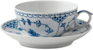 Royal Copenhagen Blue Fluted Half Lace Teacup & Saucer