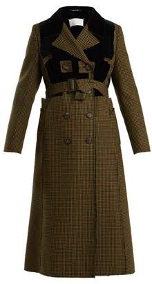Maison Margiela Double Breasted Hound's Tooth Wool Coat - Womens - Green Multi