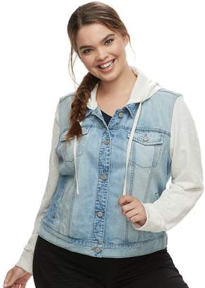 Mudd Juniors' Plus Size Hooded Knit Sleeve Jean Jacket