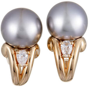 Mikimoto 18K Rose Gold 0.36 Ct. Tw. Diamond & 11-12Mm Pearl Earrings