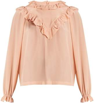 Preen by Thornton Bregazzi Dale Ruffle Trimmed Silk Blouse - Womens - Light Pink