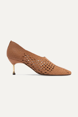 Souliers Martinez - Menorca Woven Leather Pumps - Camel
