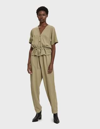 Black Crane Short Sleeve Jumpsuit