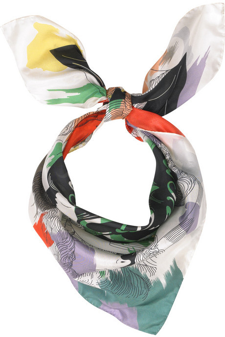 Carven Printed silk-satin scarf