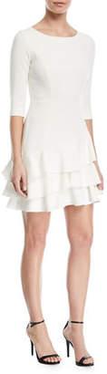 Halston Half-Sleeve Flounce Mini Dress