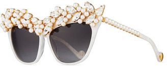 Anna-Karin Karlsson Tears of the Moon Cat-Eye Sunglasses, Pearl $3,450 thestylecure.com
