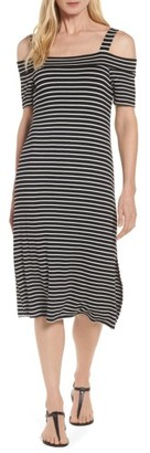 Women's Bobeau Off The Shoulder Stripe A-Line Dress $49 thestylecure.com