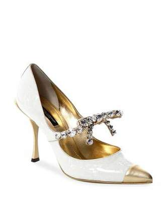 Dolce & Gabbana Patent Leather Pumps with Crystal Trim
