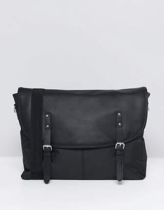 Asos DESIGN Satchel In Black Nylon And Faux Leather Flap