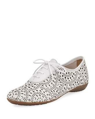 Sesto Meucci Betka Laser-Cut Oxford Sneaker, White Metallic $250 thestylecure.com