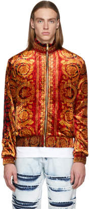 Versace Multicolor Velvet Barocco Print Zip-Up Sweater