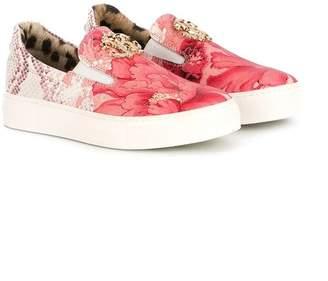 Roberto Cavalli floral slip-on sneakers