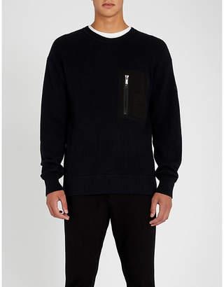 HUGO Pocket-detail wool and cotton jumper