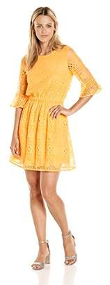 Paris Sunday Women's Flounce Sleeve Striped Lace Dress