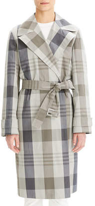 Theory Military Check Trench Coat